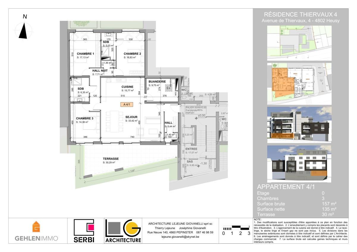 Appartement rez de 3 chambres de 157m² + terrasse
